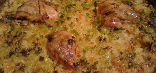 Пилешки бутчета с ориз и зеленчуци