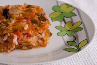 Рецепта за Свинско с праз и ориз на фурна